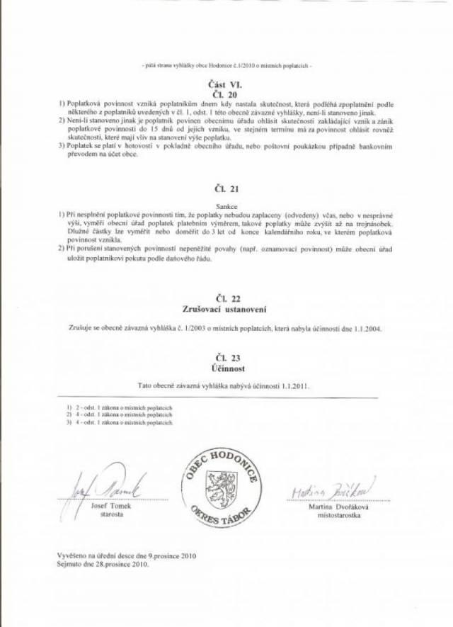 Obecně závazná vyhláška č. 1/2010 o místních poplatcích