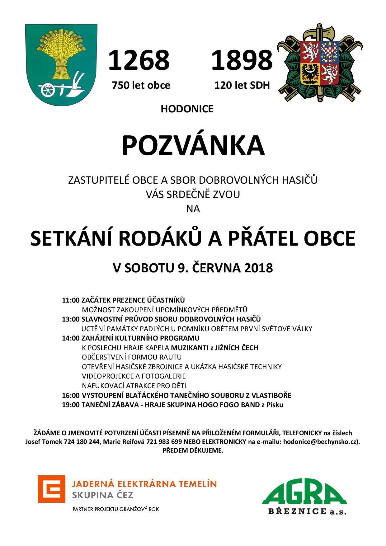 Pozvánka na setkání rodáků a přátel obce Hodonice.